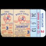 1962 World Series San Francisco Giants at New York Yankees Game 3 Baseball Ticket