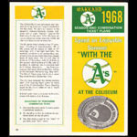 Oakland Athletics 1968 Schedule and Ticket Order Form