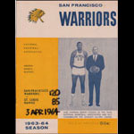 1963-64 Warriors vs Hawks NBA Western Division Playoffs Game 2 Basketball Program