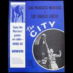 1968 Warriors vs Lakers The City Official Warriors Quarterly NBA Basketball Program