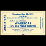 Golden State Warriors 5/29/1975 NBA Champions Souvenir Ticket Oakland Basketball Ticket
