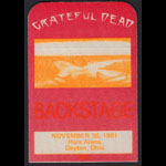 Grateful Dead 11/30/1981 Dayton OH Backstage Pass