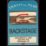 Grateful Dead 12/2/1981 Champaign IL Backstage Pass