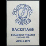 Grateful Dead 6/4/1976 Portland OR Backstage Pass