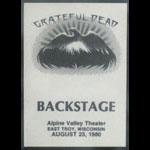 Grateful Dead 8/23/1980 East Troy WI Backstage Pass