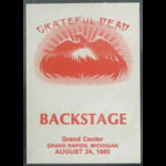 Grateful Dead 8/24/1980 Grand Rapids MI Backstage Pass