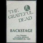 Grateful Dead 11/30/1980 Atlanta Backstage Pass