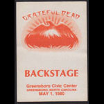 Grateful Dead 5/1/1980 Greensboro NC Backstage Pass