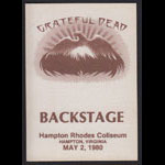 Grateful Dead 5/2/1980 Hampton VA Backstage Pass