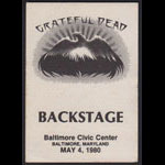 Grateful Dead 5/4/1980 Baltimore Backstage Pass