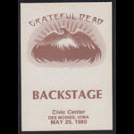 Grateful Dead 5/29/1980 Des Moines IA Backstage Pass