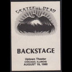 Grateful Dead 8/19/1980 Chicago Backstage Pass