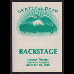 Grateful Dead 8/20/1980 Chicago Backstage Pass