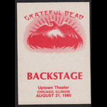Grateful Dead 8/21/1980 Chicago Backstage Pass