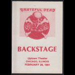 Grateful Dead 2/26/1981 Chicago Backstage Pass