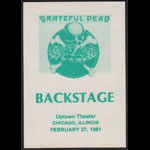 Grateful Dead 2/27/1981 Chicago Backstage Pass