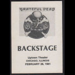 Grateful Dead 2/28/1981 Chicago Backstage Pass