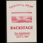 Grateful Dead 7/5/1981 Oklahoma City Backstage Pass