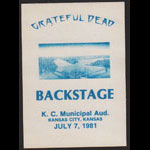 Grateful Dead 7/7/1981 Kansas City MO Backstage Pass