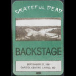 Grateful Dead 9/27/1981 Washington DC Backstage Pass