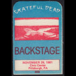 Grateful Dead 11/29/1981 Pittsburgh Backstage Pass