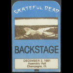 Grateful Dead 12/2/1981 Champaign IL Backstage Pass