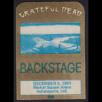 Grateful Dead 12/5/1981 Indianapolis Backstage Pass