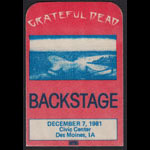 Grateful Dead 12/7/1981 Des Moines IA Backstage Pass