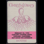 Rick Griffin Grateful Dead 2/23/1992 Oakland Backstage Pass