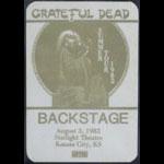 Grateful Dead 8/3/1982 Kansas City MO Backstage Pass