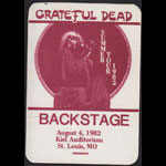 Grateful Dead 8/4/1982 St. Louis Backstage Pass