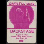 Grateful Dead 8/8/1982 East Troy WI Backstage Pass