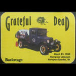 Grateful Dead 3/22/1985 Hampton VA Backstage Pass
