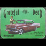 Grateful Dead 3/31/1985 Portland ME Backstage Pass