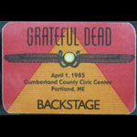 Rick Griffin Grateful Dead 4/1/1985 Portland ME Backstage Pass