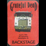 Grateful Dead 4/8/1985 Philadelphia Backstage Pass
