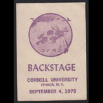 Alton Kelley Grateful Dead 9/4/1978 Cornell University Backstage Pass