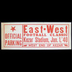 1940 East-West Parking Pass Window Decal