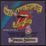 Rolling Stones Tattoo You Tour Backstage Pass