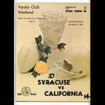 1967 Syracuse vs Cal College Football Program