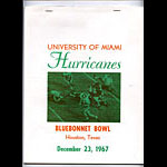 1967 Miami Bluebonnet Bowl College Football Program