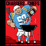 Scrojo Chargers vs Chiefs AFL 50th Anniversary Poster
