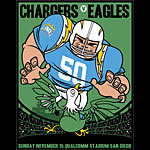 Scrojo Chargers vs Eagles AFL 50th Anniversary Poster