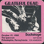 Grateful Dead 10/19/1989 Philadelphia Backstage Pass