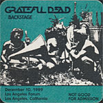 Grateful Dead 12/10/1989 Los Angeles Backstage Pass