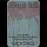 Grateful Dead 6/24/1984 Saratoga Springs NY Backstage Pass