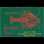 Grateful Dead 3/27/1986 Portland ME Backstage Pass