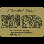 Grateful Dead 6/26/1987 East Troy WI Backstage Pass