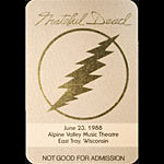Grateful Dead 6/23/1988 East Troy WI Backstage Pass