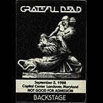 Grateful Dead 9/3/1988 Washington DC Backstage Pass